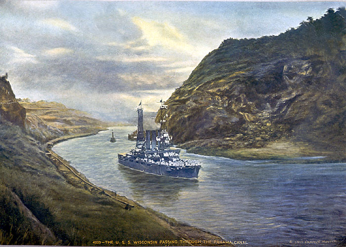 188 BB-9 USS Wisconsin passing through the Panma Canal. This was in a 1917 calendar.