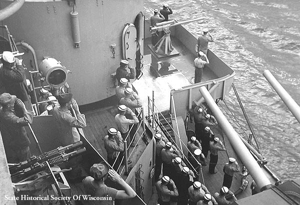 123 H.C.Schnipper Crew Saluting British Ship June 28 1947