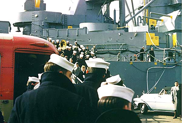100 Crew leaving ship March 8 1958