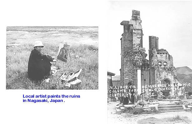 460a  D.Patrykus  Artist and ruins, Nagasaki 1954