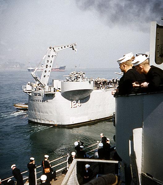 871 D Menta USS Rochester Relieving BB-64  Yokosuka Japan 4-1-54
