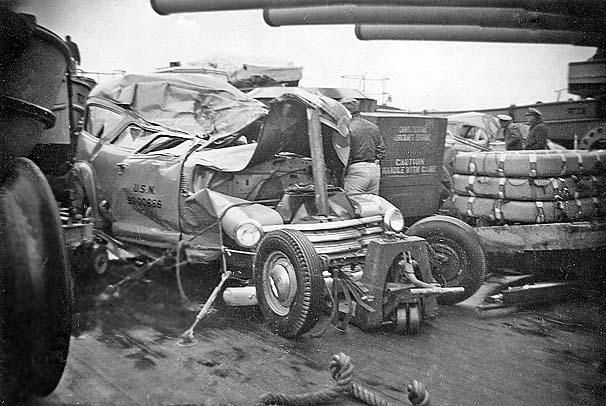 1032 Vehicle damage on fantail