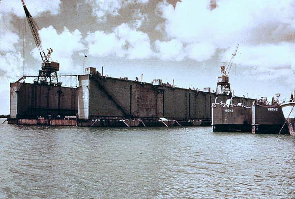 1156 Guam, April 5, 1952 A view of AFDB-1 Floating dry dock