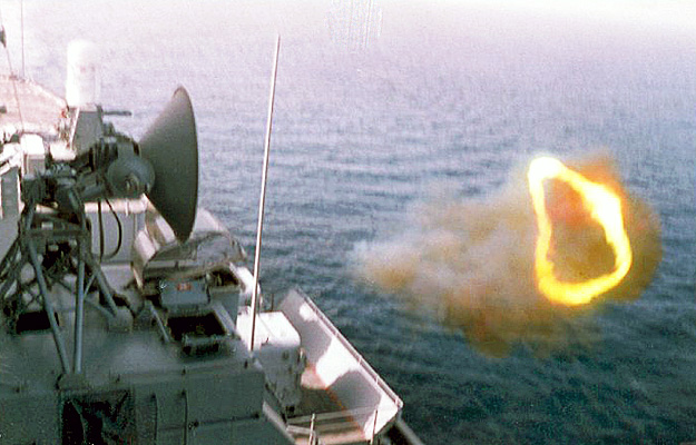 57   5 inch gun firing. Matt Hyde