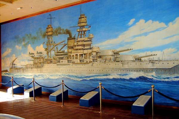 151Nice-painting-of-the-USS-Arizona-BB-39-at-the-Arizona-Memorial.